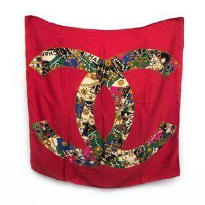 Vintage Chanel Red Interlocking CC Logo Scarf